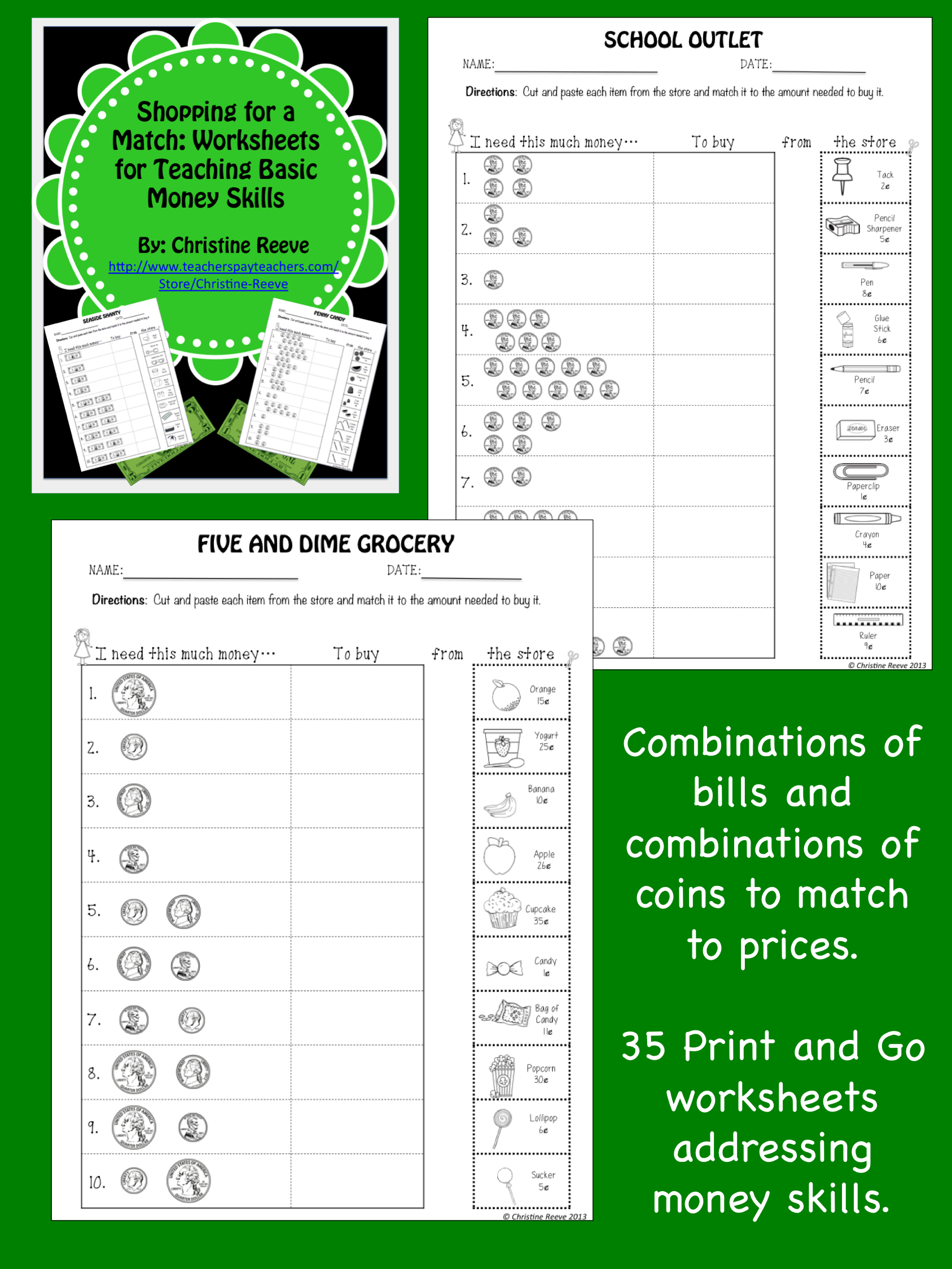 Money Skill Worksheets Shopping For A Match Special Ed