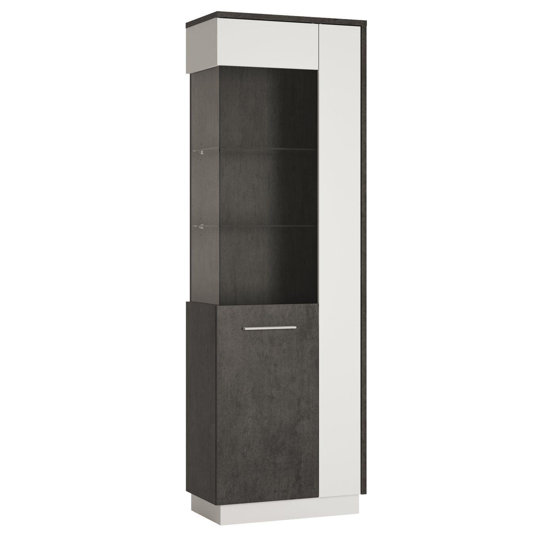 Solan 1 Door Left Hand Display Cabinet Grey White In 2020 Wall Mounted Display Cabinets Corner Display Cabinet Tall Cabinet Storage