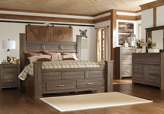 Aged Brown Rough Sawn Finish Ashley Furniture Bedroom Bedroom