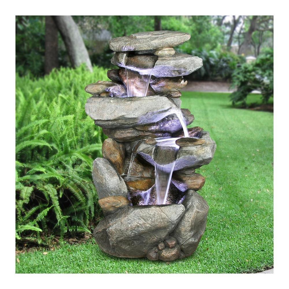 High Quality Fountain Rock Waterfall Decor Outdoor Garden Backyard w ...