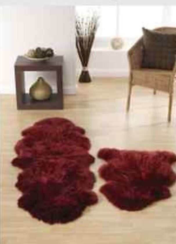 Australian Wool Sheepskin Rug Single 34 X 24 Berry Wine New 8 Colour