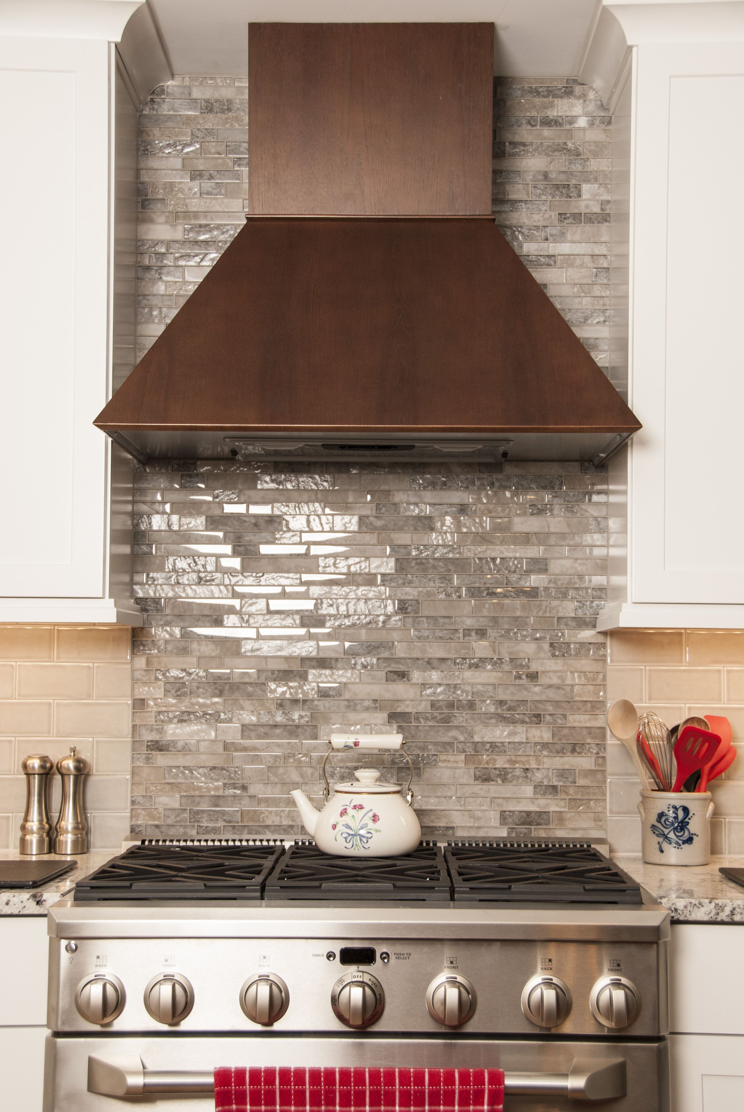 Wood hood white cabinets twotoned cabinets stainless steel range