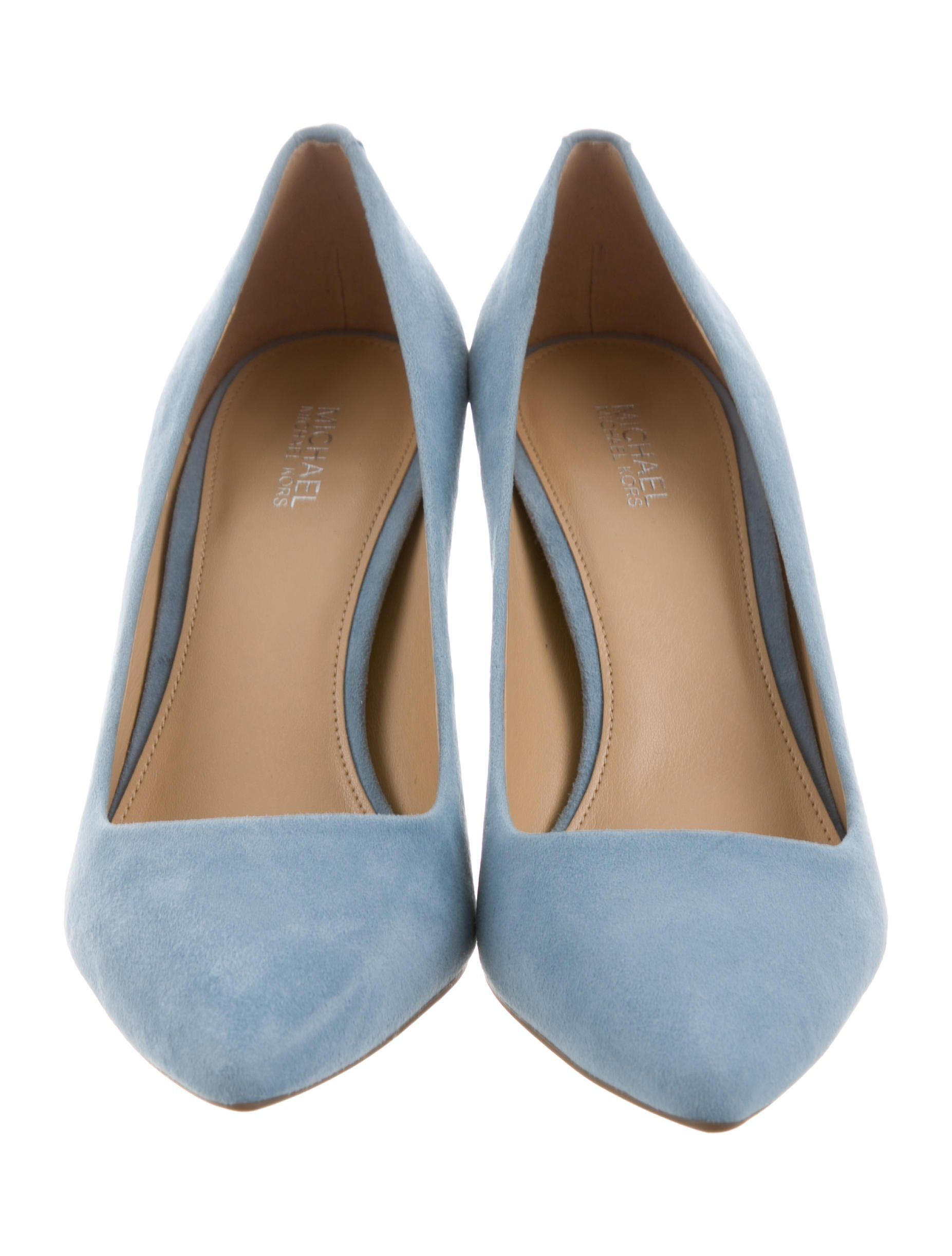 542e5561e7c Sky blue suede Michael Michael Kors Dorothy Flex pumps with pointed toes  and covered heels. Includes box.