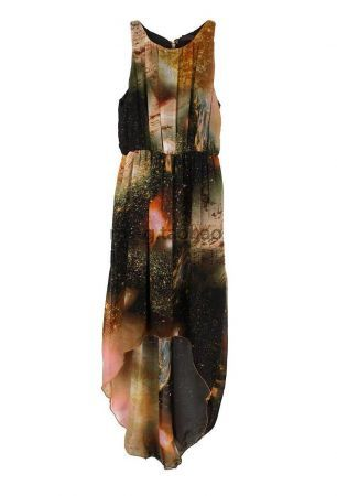 Starry irregular sleeveless chiffon dress Brown