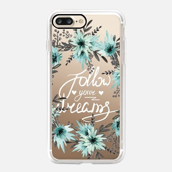 Follow your dreams. Floral wreath. Watercolor - Classic Grip Case