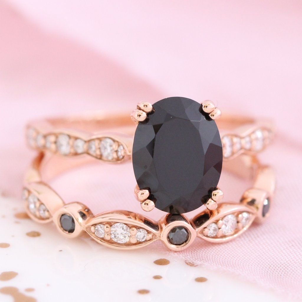 Oval Black Spinel Ring Bridal Set in Rose Gold Black and White ...