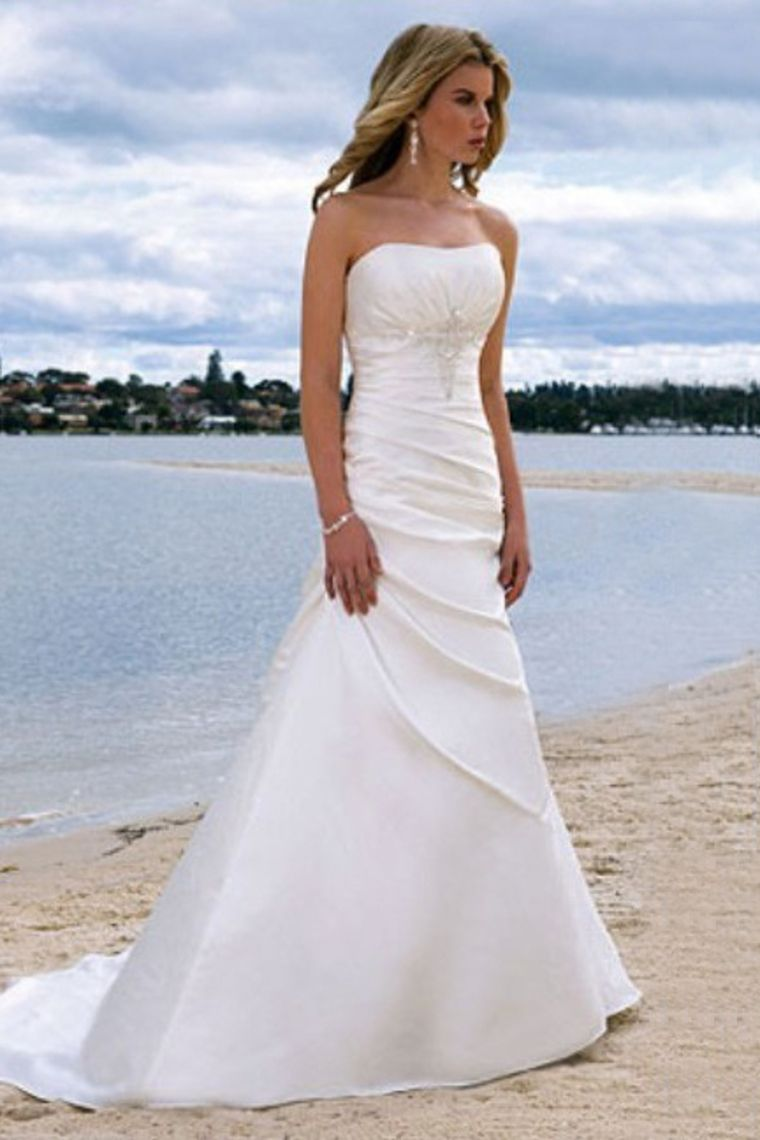 Beach dresses for weddings  Classic A Line Strapless Brush Court Train Lace Up Summer Beach