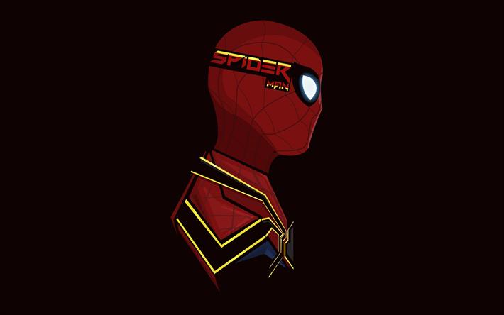 Download wallpapers 4k, Spiderman, minimal, superheroes