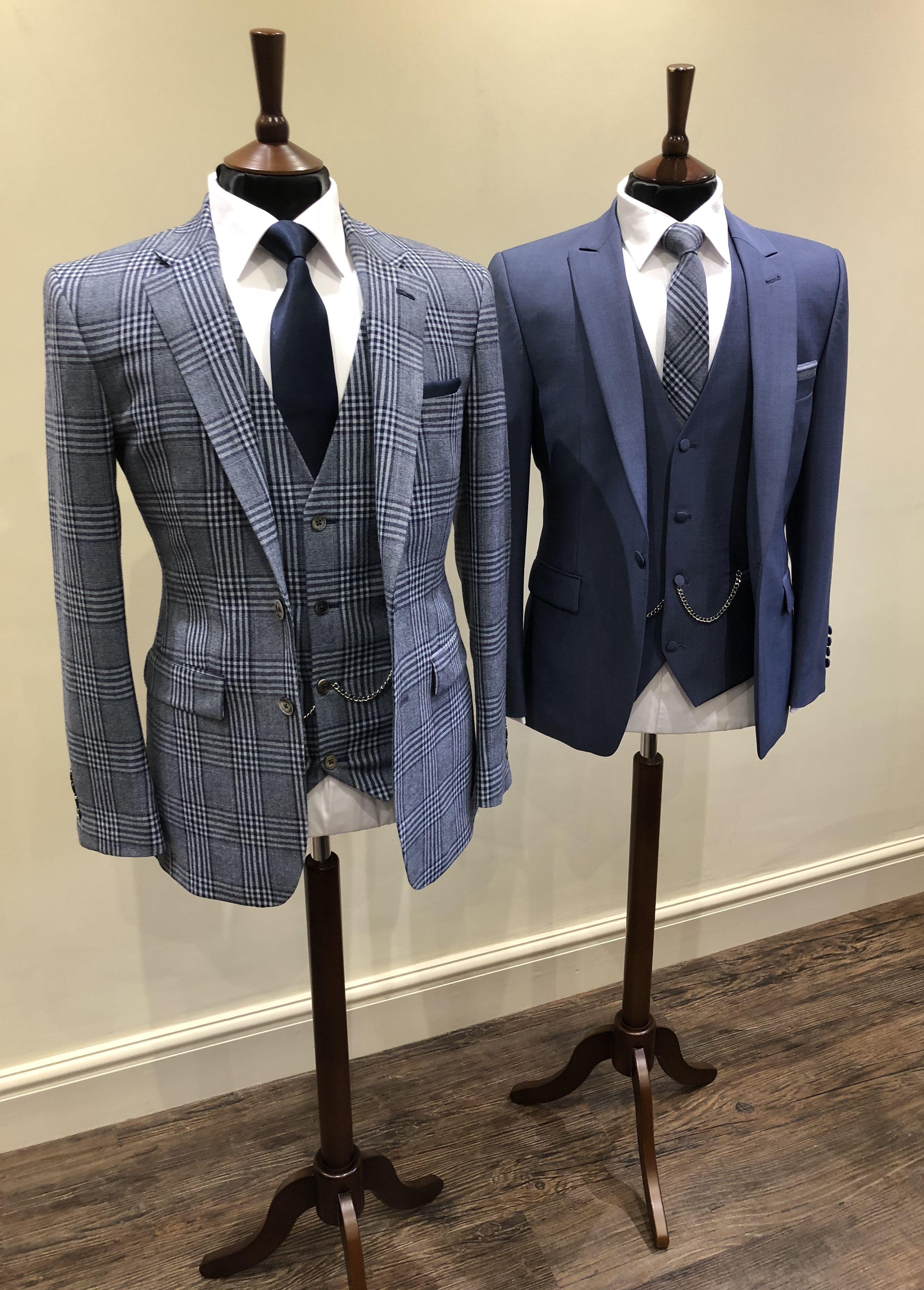 Groom Groomsmen Look Bespoke Blue Check Suit Tailored Suit