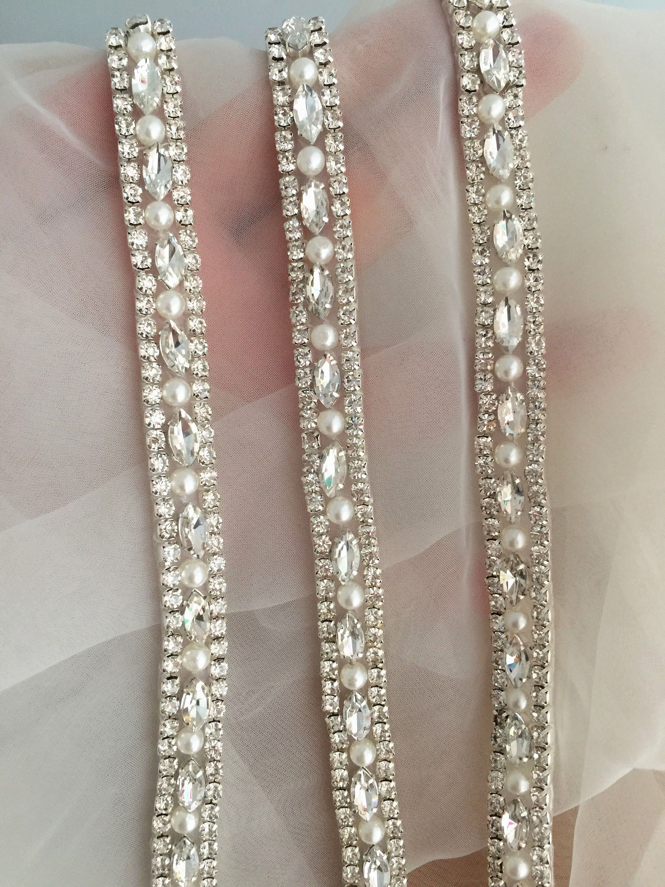 1 yard Thin rhinestone and crystal beaded lace trim for
