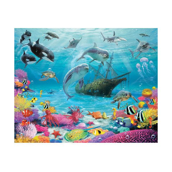 """Brewster WT43190 96"""" x 120"""" - Sea Adventure - Unpasted Vinyl Coated ($145) ❤ liked on Polyvore featuring home, home decor, murals, wallpaper, ocean home decor, brewster home fashions and sea home decor"""
