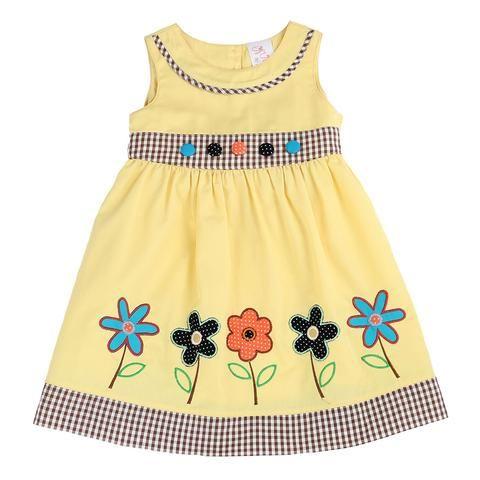 HAND PAINTED FLOWER DRESS- YELLOW