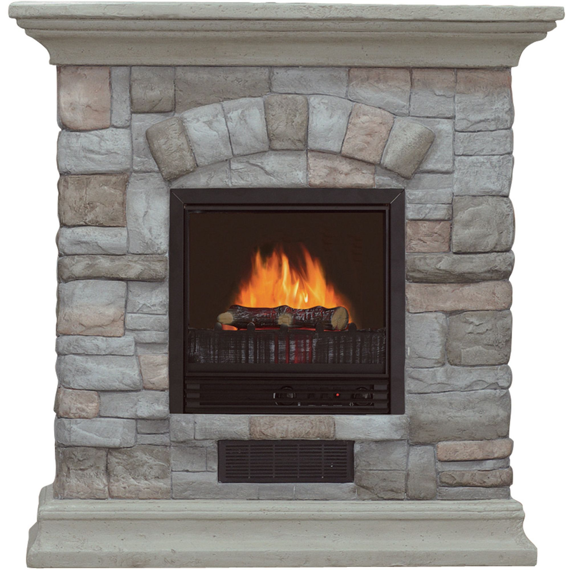 Electric Fireplace with Mantel and Multicolor Stone Facade — 5115 ...