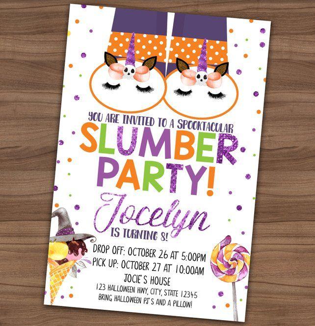 Halloween Slumber Party Invitation Birthday Sleepover Invite