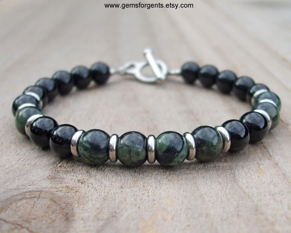 New Beaded Bracelet Faceted Black Onyx Stone Chunky Round Beads Stretch Band