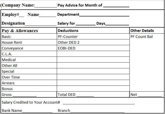 Download salary slip format in excel and word managers club Excel ...