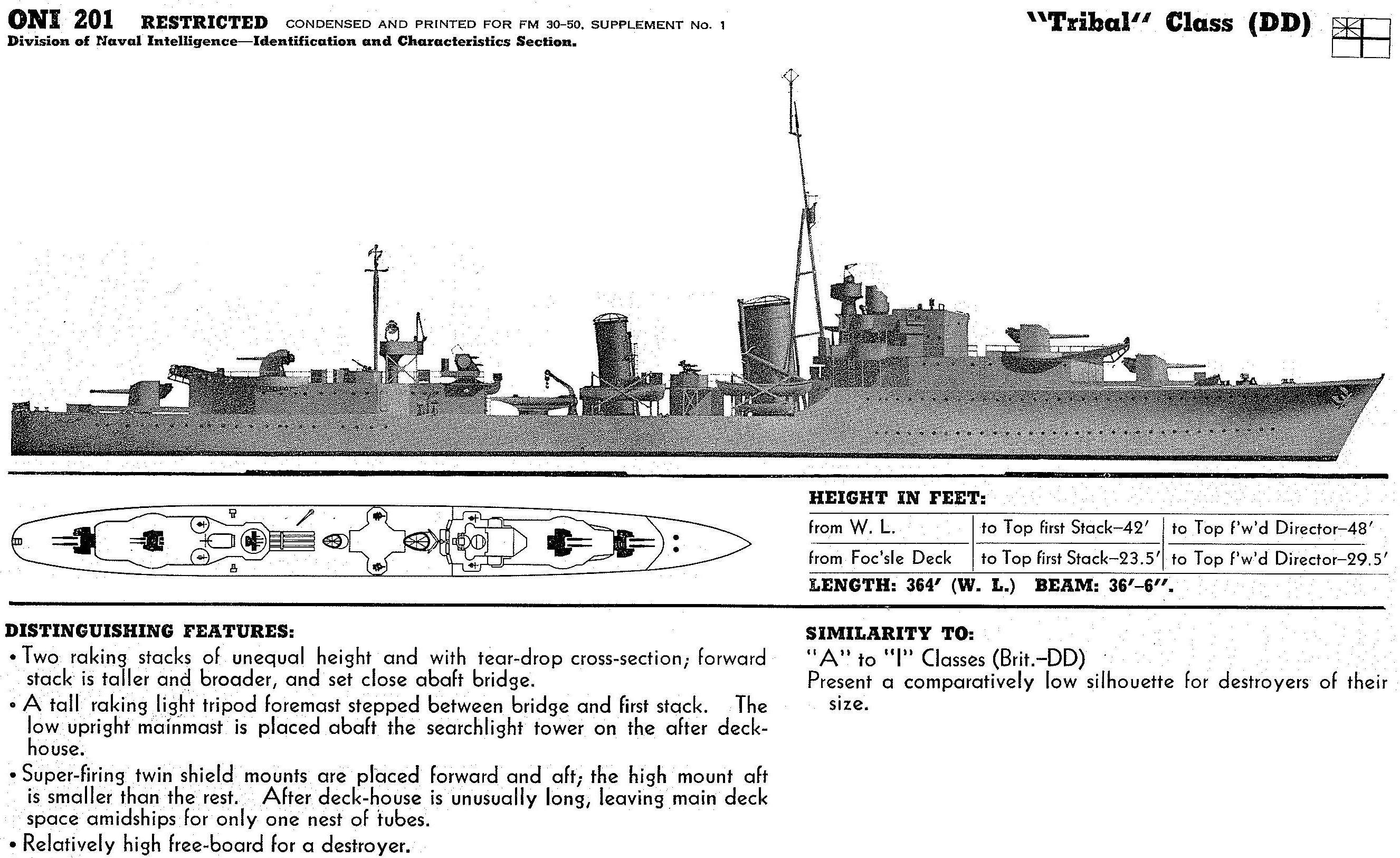 hms tribal class destroyer warships diagram 182 royal. Black Bedroom Furniture Sets. Home Design Ideas