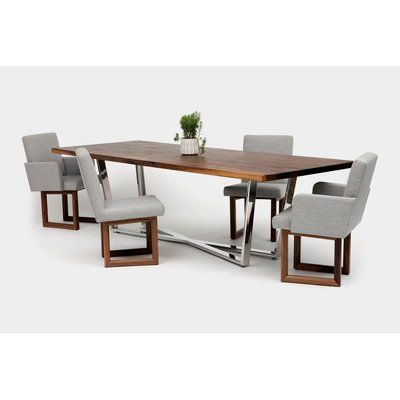 Artless Gax Dining Table Size 120 L X 36 W Finish Walnut And Stainless Steel Dining Table Dining Table Sizes Slab Dining Tables