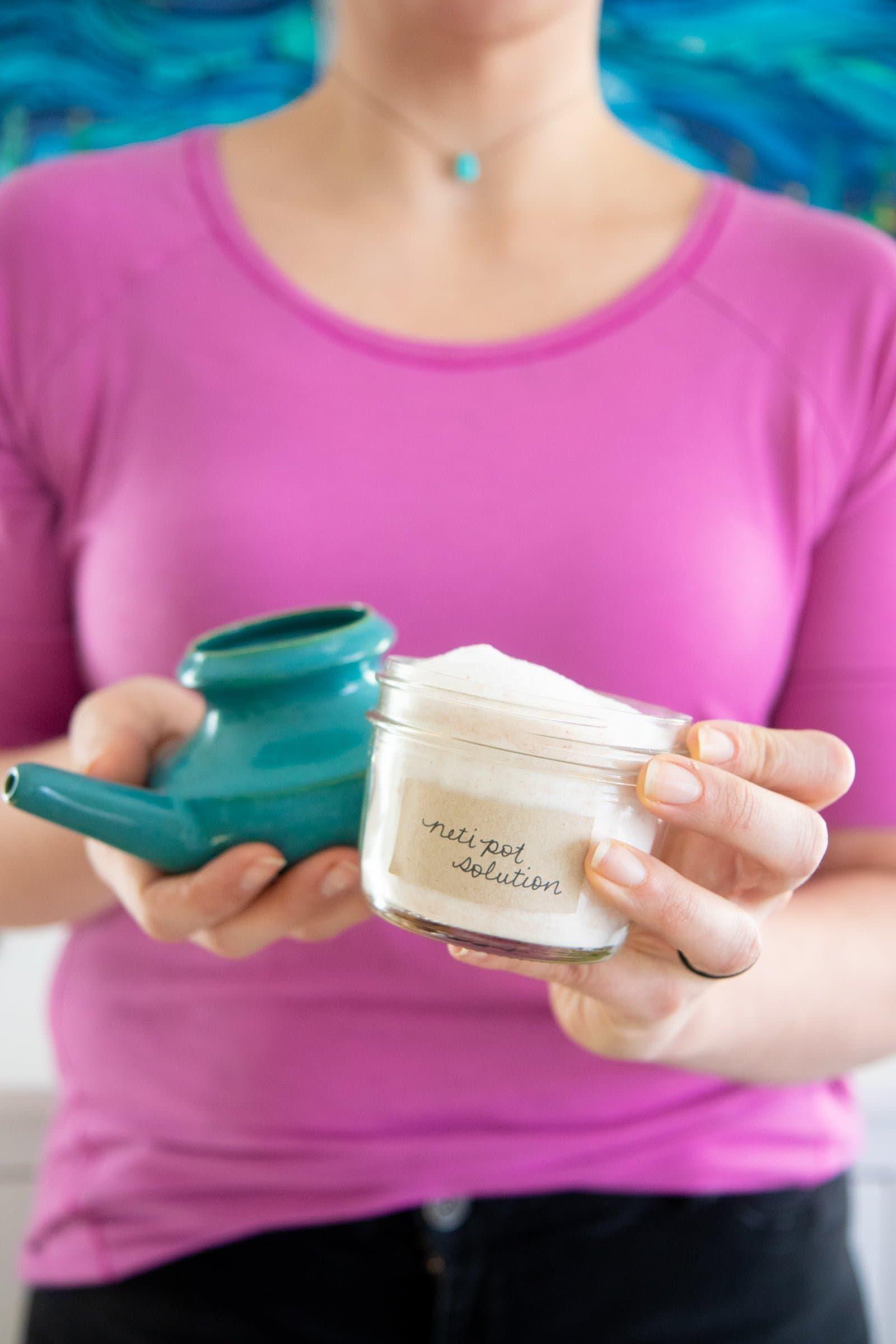How And Why To Neti Pot Plus Diy Neti Pot Solution Recipe Recipe Neti Pot Solution Neti Pot Natural Headache Remedies