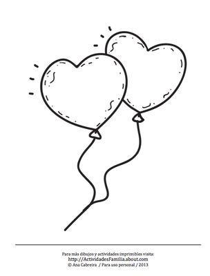 Globos de corazones para imprimir y colorear   Bocetos de tatuajes ...