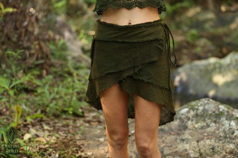 Boho Pixie Festival Fairy Hippie Bohemia Sahara Skirt Cotton Tribal Wrap Skirt