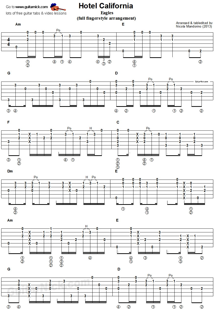 Hotel California Fingerstyle Guitar Tab 1 Guitar In 2018