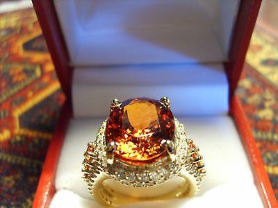 Woman's Anniversary Fine Ring Orange Mandarin IF Garnet  & Diamonds 14kt Gold