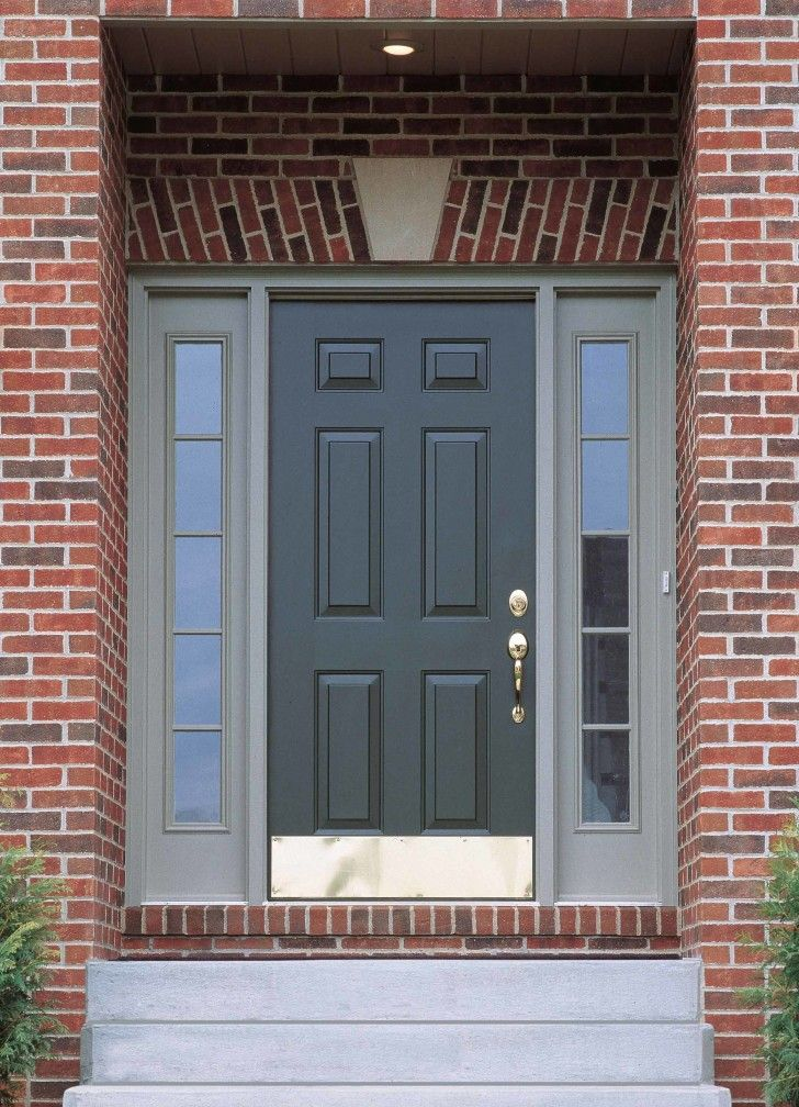 Dark Grey Wooden Door Connected By Double Glass Windows With White