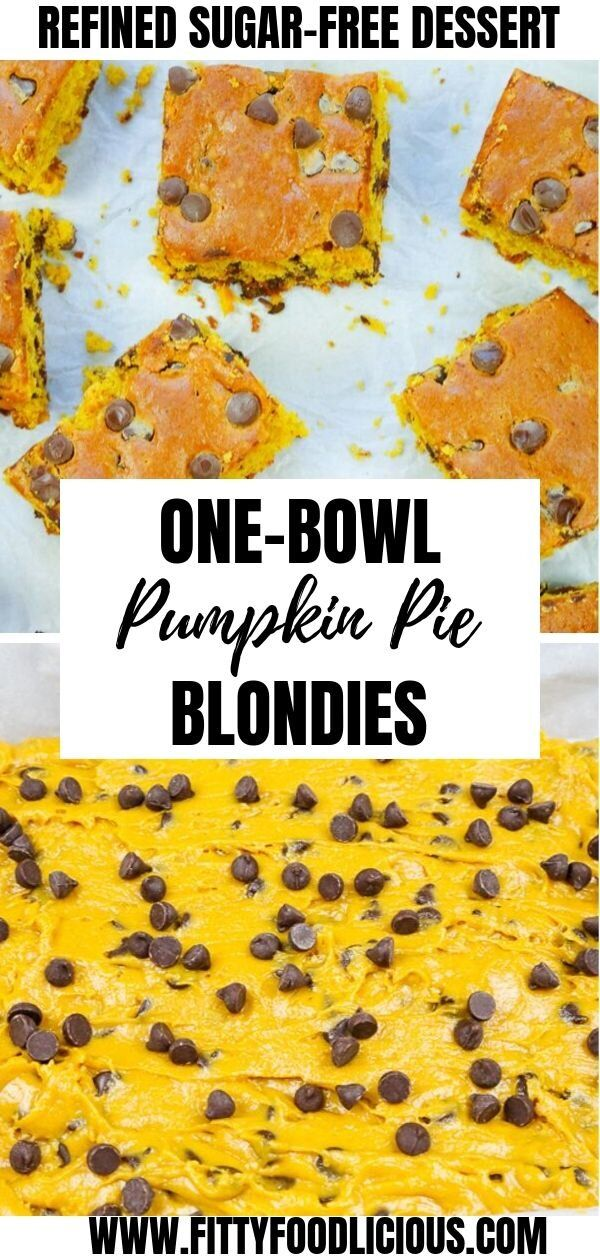 Pumpkin Pie Blondies Need a fun fall recipe? I've got you covered with my easy Pumpkin Pie Blondies. And the best part is? They are refined sugar-free. My Pumpkin Pie Blondies are made with fresh pumpkin puree, chocolate chips, coconut sugar, flour, and a few other key ingredients. This dessert is literally if a cake and cookie had a baby, they would make a blondie. The perfect Autumn dessert!