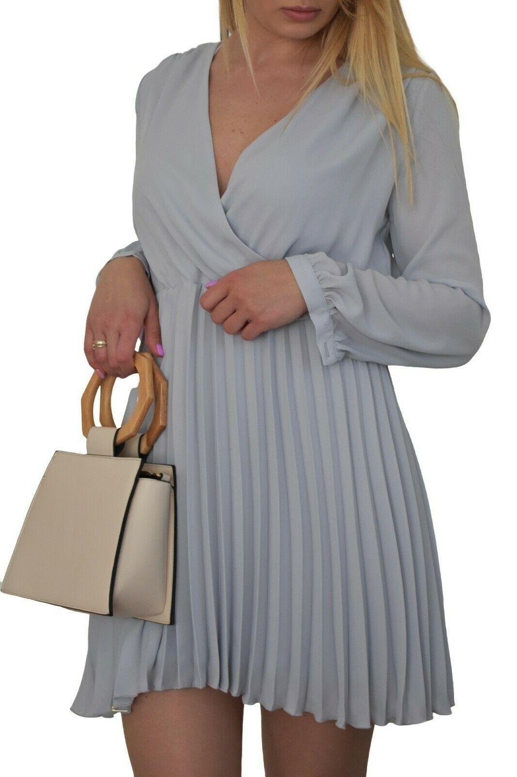 Damen Mini Plissee Kleid Plisseekleid Falten Faltenkleid Cocktailkleid Langarm Schwarzes Kleid Ideen Von Schwarze Mode Fashion Fashion Cold Shoulder Dress
