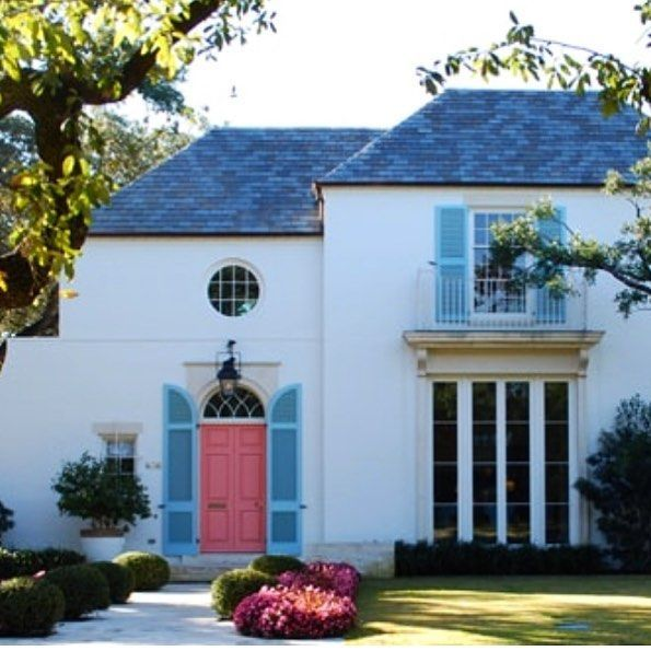 50 Best Exterior Paint Colors for Your Home French windows, White