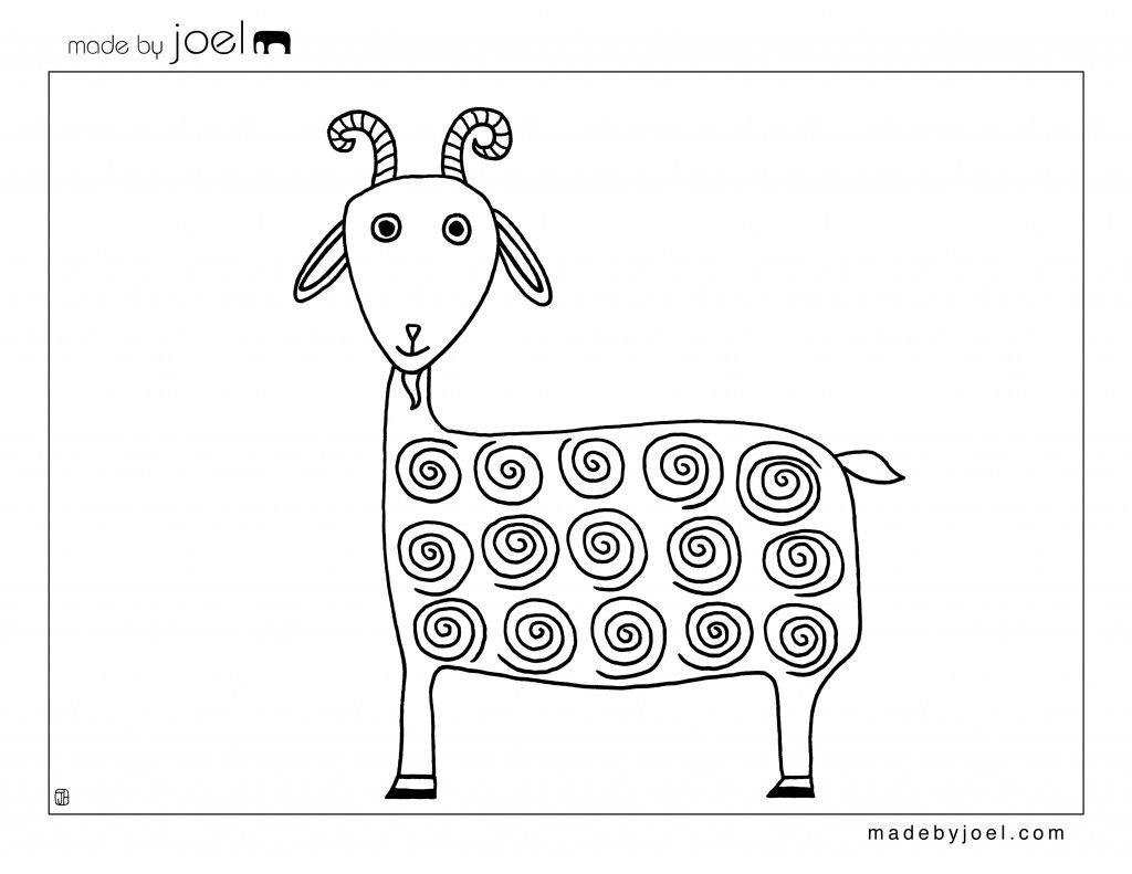 Made By Joel Goat Coloring Sheet Free Printable Template