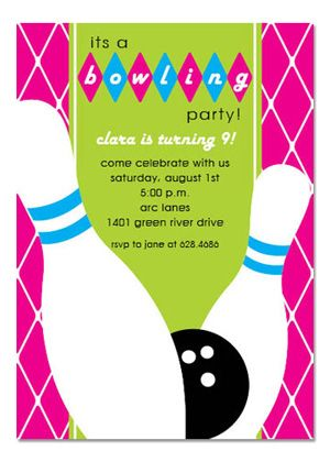 bowling party blank invitations