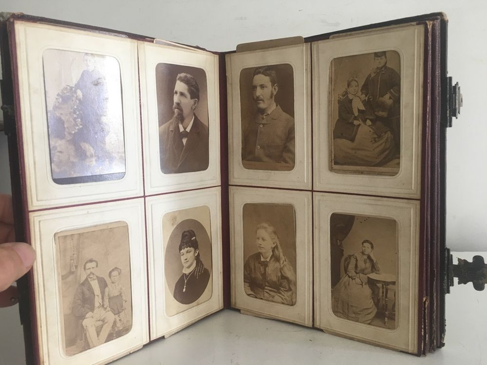 details about antique  1870 u0026 39 s  photo album leather with