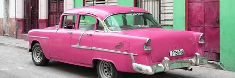 Photographic Print: Cuba Fuerte Collection Panoramic – Cuban Pink Classic Car in Havana by Philippe Hugonnard : 36x12in
