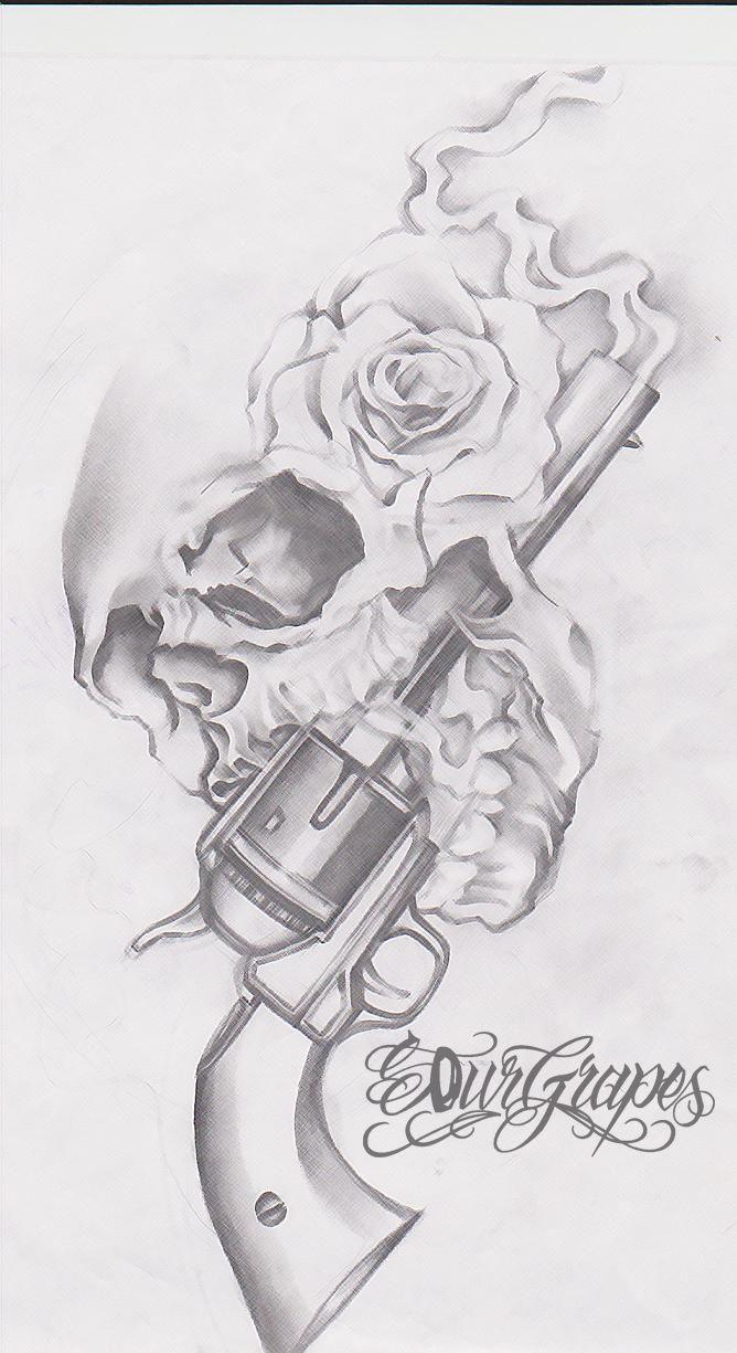 Gun n Roses Skull Tattoo Drawing | Tattoobite.com | Skull ...