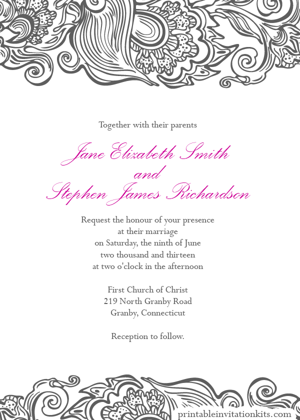 free wedding pdf downloads deco border wedding invitation easy to edit and print at home