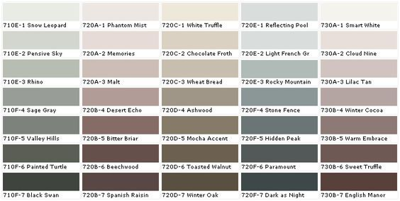 Behr Color Chart ... More office colors to choose from <3