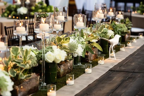 Centerpieces Included Rustic Details Like A Moss Runner And Elegant These With Manzanita Branches Tea Lights