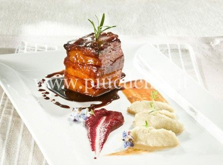 Photo of Bacon lacquered with red turnip cream and puree of …-…-B…