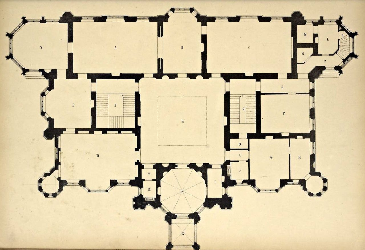 Floor Plan for a Country house, England Scenes and