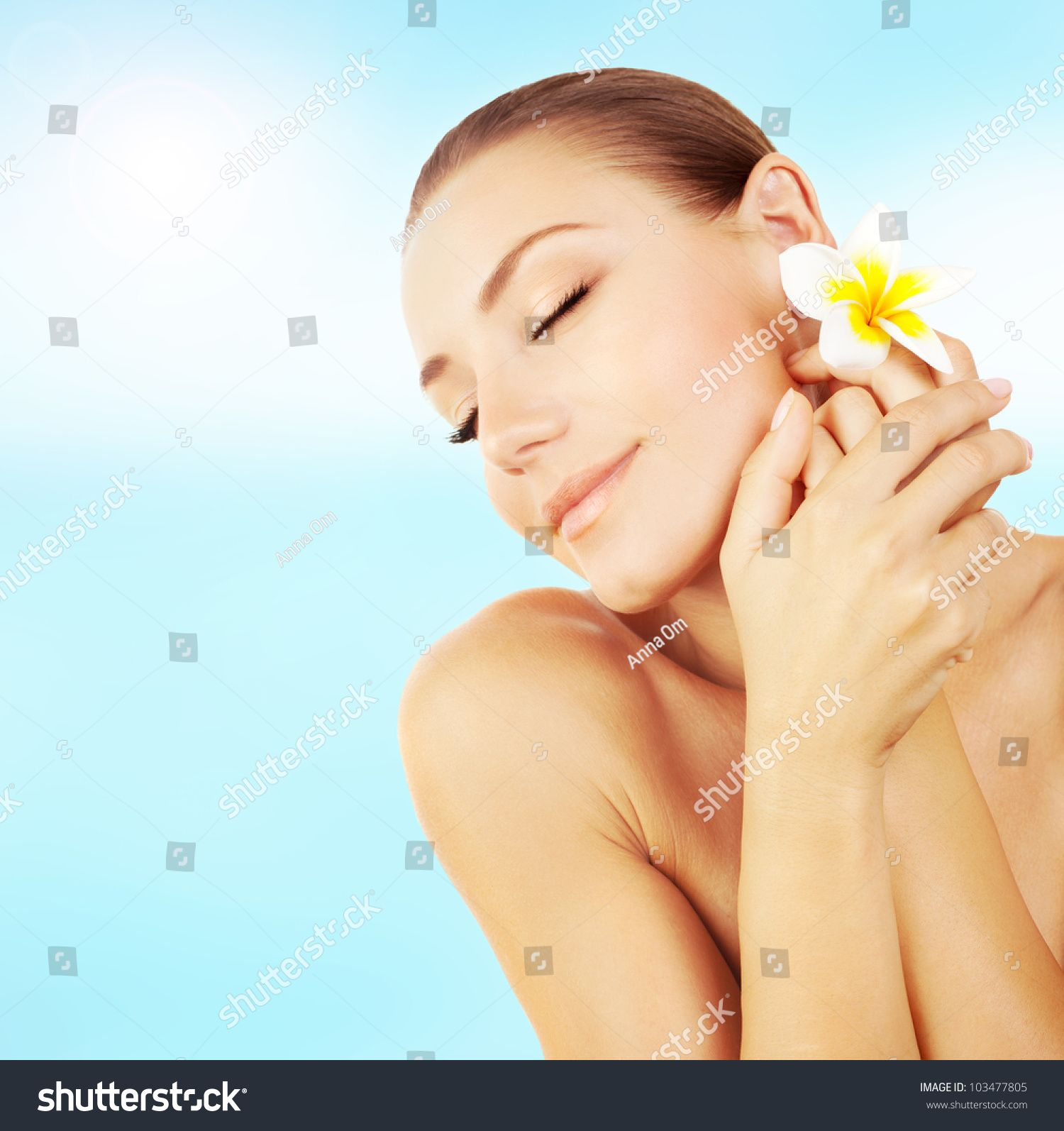 Woman Enjoying Day Spa Resort Beautiful Peaceful Relaxed Female On The Beach Applying Cream Hand Massage Face Wit Spa Day Beautiful Stock Photos Resort Spa