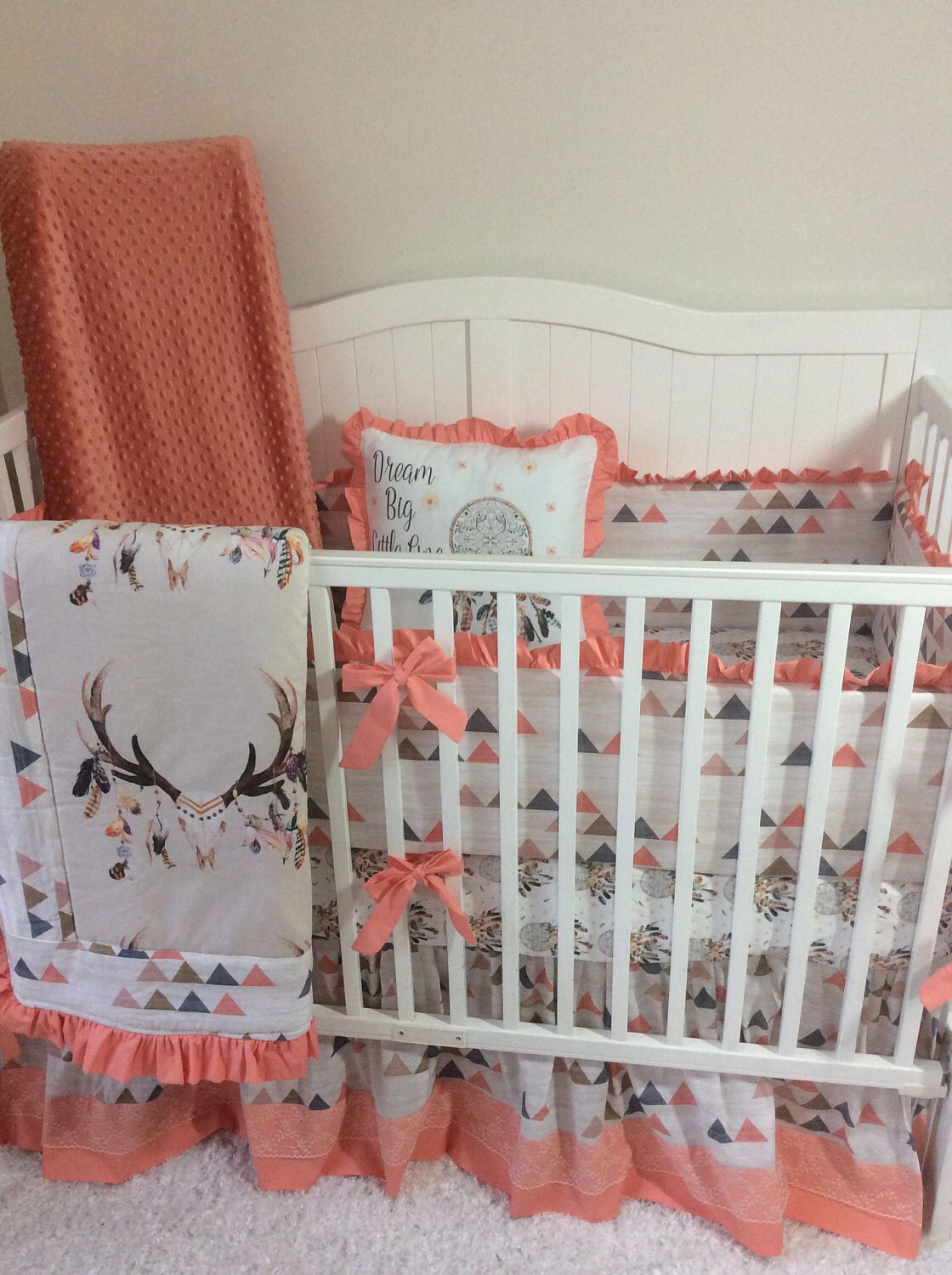Crib bedding set gray white navy blue with by butterbeansboutique - Baby Girl Crib Bedding Set Peach Coral Tan Blue Boho Feather Skull And Dreamcatchers