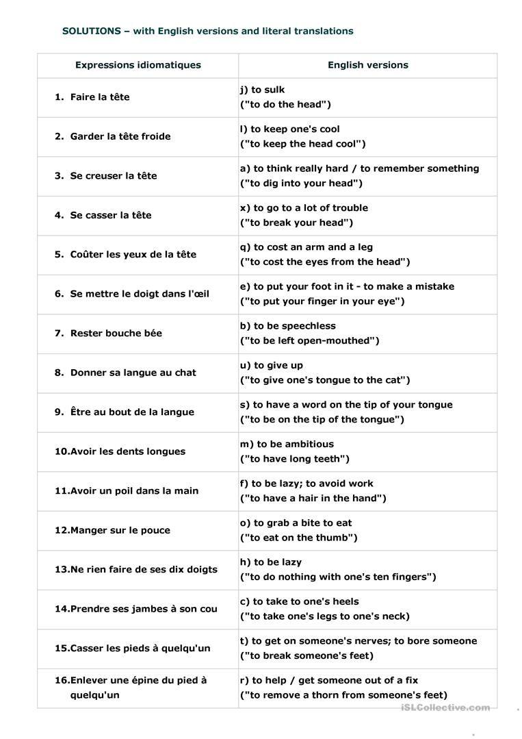Expressions Idiomatiques Apprendre L Anglais Expressions Idiomatiques Parler Francais