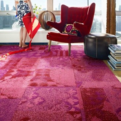ambrosia in magenta by Flor, $18/sq This lives in my living room and ...