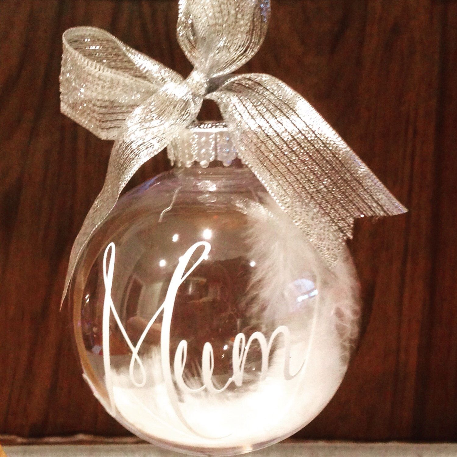 Personalised Bauble With Name Feather Christmas Keepsake Memory