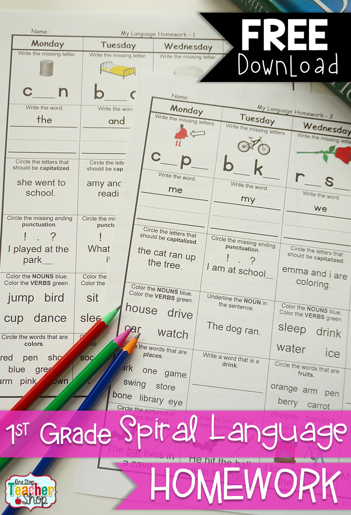 FREE Spiral LANGUAGE Homework for 1st Grade! 2 Weeks FREE! with ...