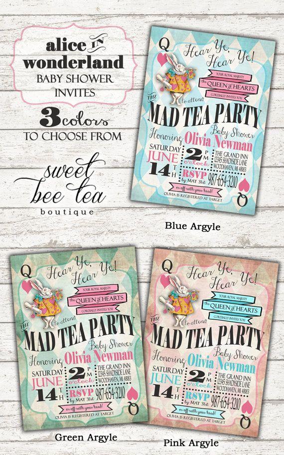 Alice in Wonderland Baby Shower Invitation - Boy or Girl - Printable ...