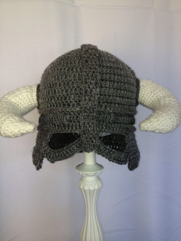 Viking Horns Hat , Crochet Helmet, Grey | Pinterest