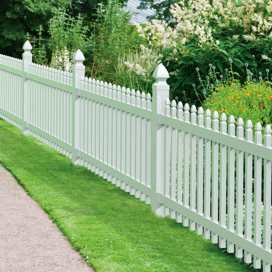 Shop Gatehouse Arborley White Gothic Picket Vinyl Fence
